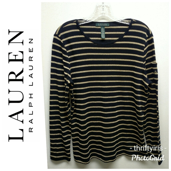 Lauren Ralph Lauren-Black-Gold Metallic Sweater-XL